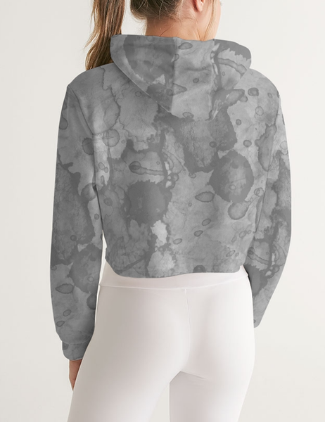 Abstract Stone Water Color Print | Women's Sublimated Cropped Hoodie