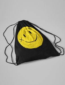 Battered Smiley Face Drawstring Bag