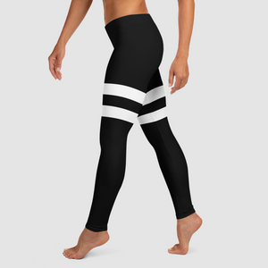 Black And White Double Thigh Striped | Women's Standard Yoga Leggings