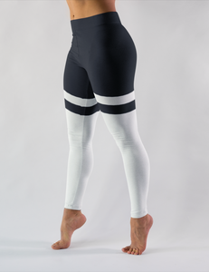 Black And White Thigh Striped Low Waist Yoga Leggings - OniTakai