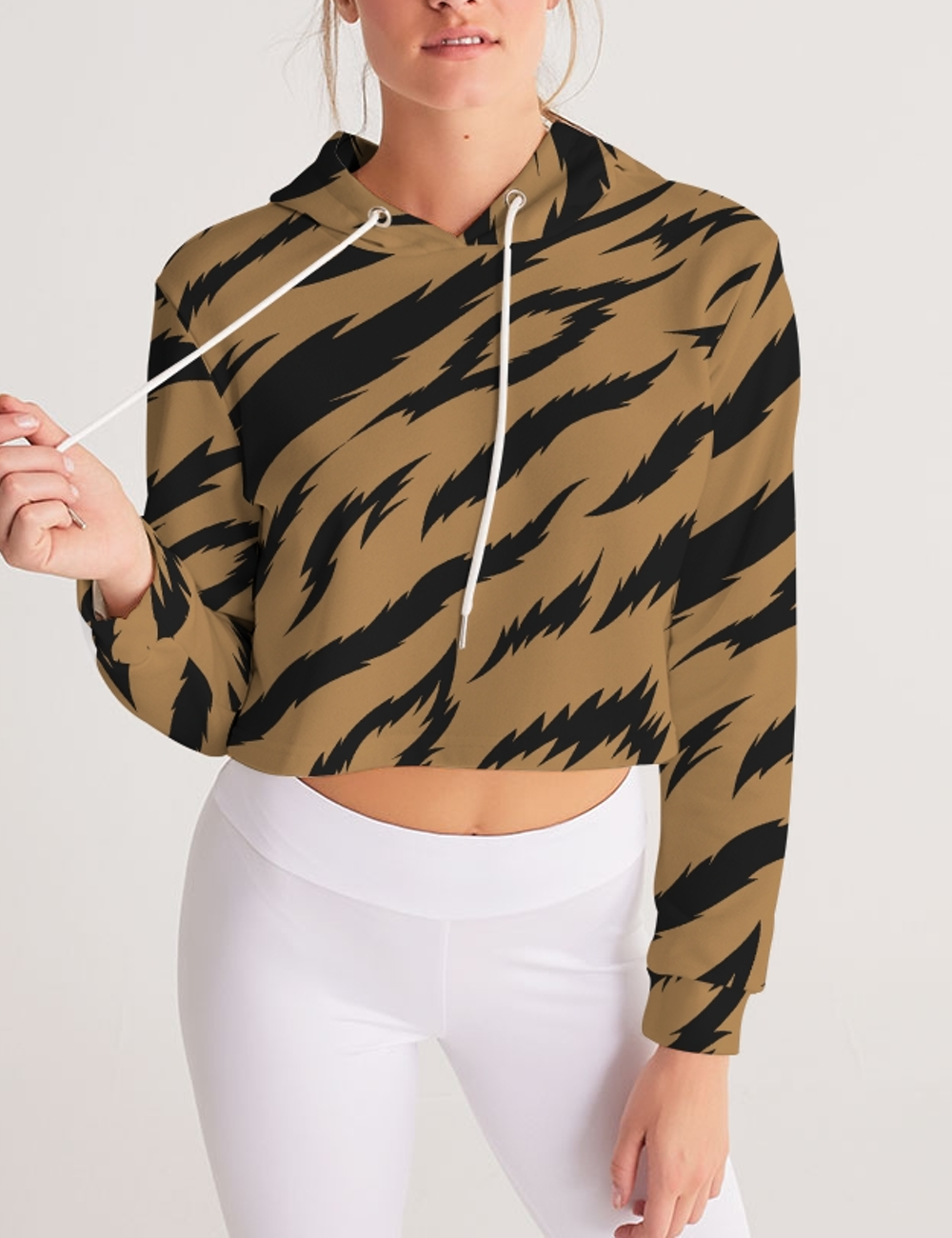 Brown Tiger Stripes | Women's Sublimated Cropped Hoodie