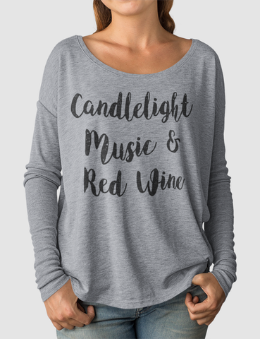 Candlelight Music & Red Wine | Women's Flowy Long Sleeve Shirt