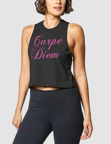 Carpe Diem | Women's Sleeveless Racerback Cropped Tank Top