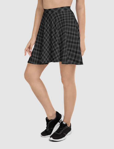 Classic Dark Grey Diagonal Plaid Pattern | Women's Skater Skirt
