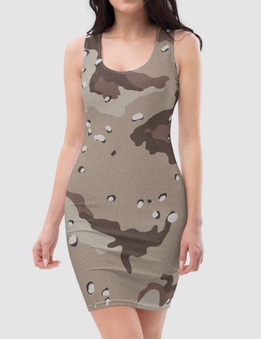 Classic Desert Storm Camouflage Print | Women's Sleeveless Fitted Sublimated Dress