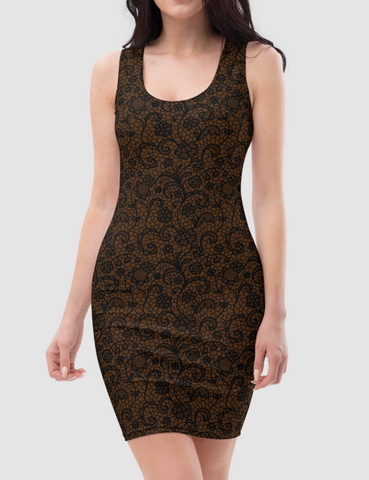 Coffee Style Faux Lace Crochet Print Pattern | Women's Sleeveless Fitted Sublimated Dress