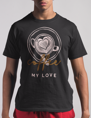 Coffee My Love Mens Black T-Shirt - OniTakai