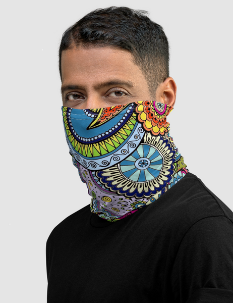 Colorful Tropical Paisley Neck Gaiter Face Mask - OniTakai