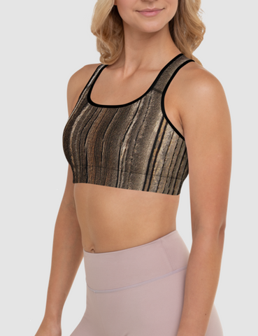 Cracked Brown Wood Texture | Women's Padded Sports Bra