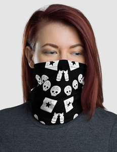Crazy Happy Starry Eyed Punk Skull Pattern | Neck Gaiter Face Mask