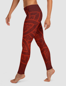 Crimson Mandala | Women's Standard Yoga Leggings