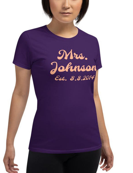 Customizable Mrs. Bridal Celebratory Women's Cut T-Shirt