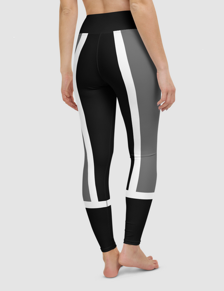 Dark Grey Paneled Contrast | Women's High Waist Yoga Leggings