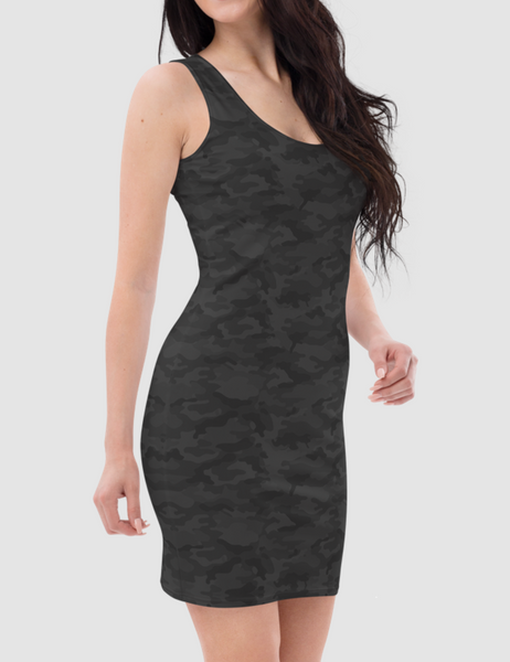 Dark Jungle Military Camouflage Print | Women's Sleeveless Fitted Sublimated Dress