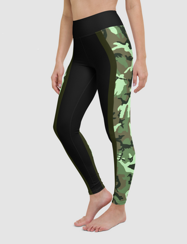 Dark Neon Green Jungle Camouflage Side Lined Composite | Women's High Waist Yoga Leggings
