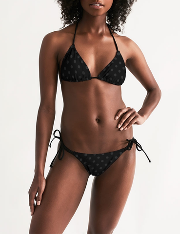Dark Polka Dot | Women's Triangle String Bikini
