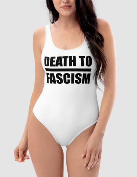 Death To Fascism Women's White One-Piece Open Back Swimsuit - OniTakai