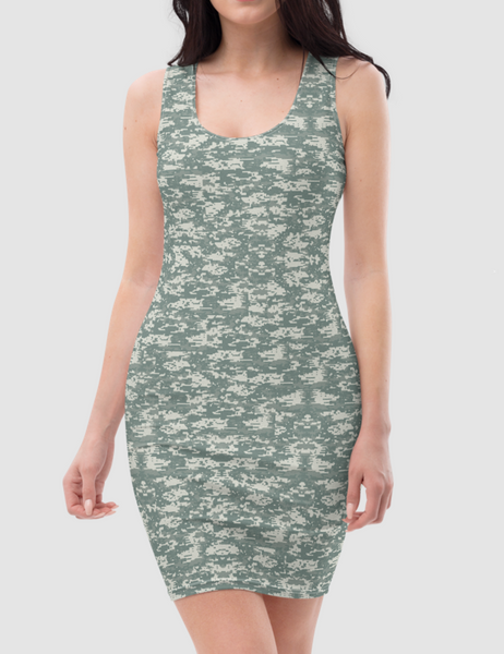 Digital Military Camouflage Print Sleeveless Fitted Sublimated Dress