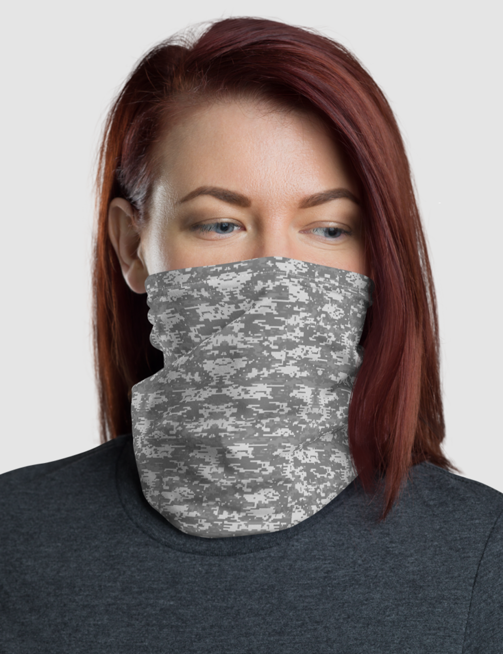 Digital Military Grey Camouflage Print | Neck Gaiter Face Mask