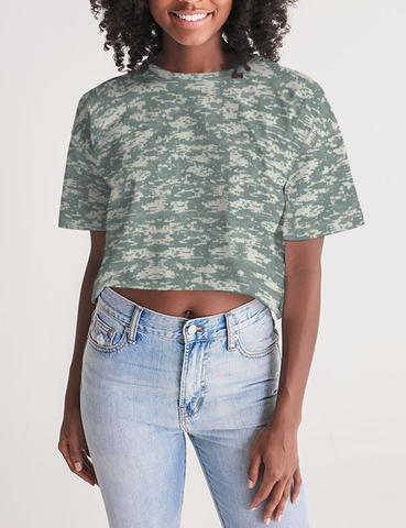 Digital Military Camouflage Print | Women's Oversized Crop Top T-Shirt