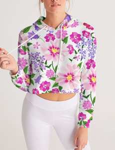Elegant Floral Print | Women's Sublimated Cropped Hoodie