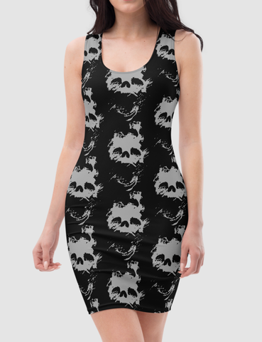 Fading Light Death Skull | Women's Sleeveless Fitted Sublimated Dress