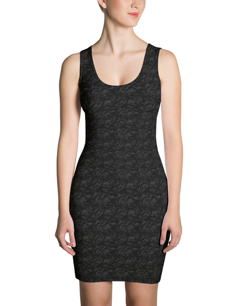 Faint Dark Wave Pattern Sleeveless Fitted Sublimated Dress