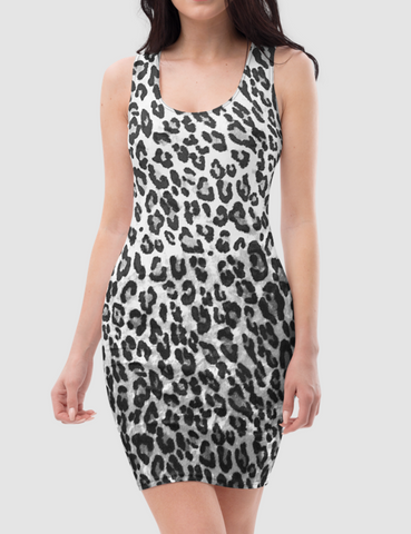 Faux Grey Leopard Fur Print Pattern | Women's Sleeveless Fitted Sublimated Dress