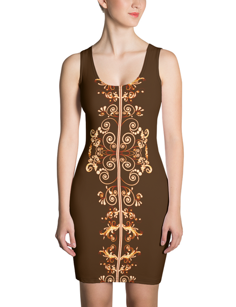 Floral Coffee Swirl Sleeveless Fitted Sublimated Dress