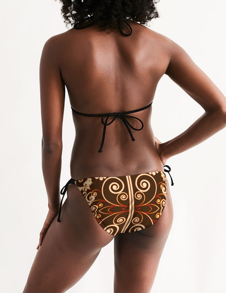 Floral Coffee Swirl | Women's Triangle String Bikini