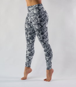 Gray Jungle Military Camouflage Print Low Waist Yoga Leggings - OniTakai