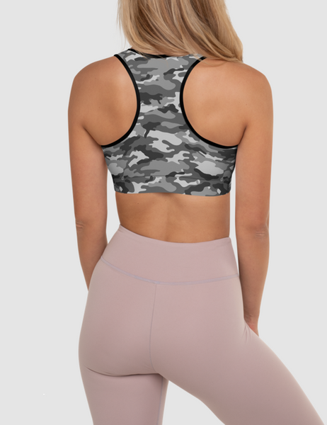 Gray Jungle Military Camouflage Print | Women's Padded Sports Bra