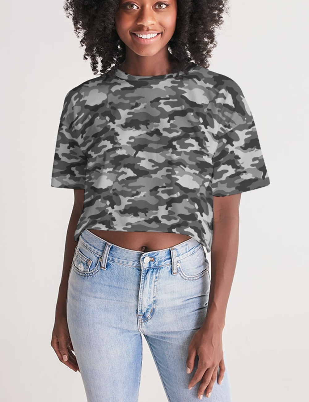 Gray Jungle Military Camouflage Print | Women's Oversized Crop Top T-Shirt