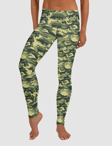 Green Military Camouflage Print Low Waist Yoga Leggings
