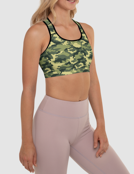 Green Military Camouflage Print | Women's Padded Sports Bra