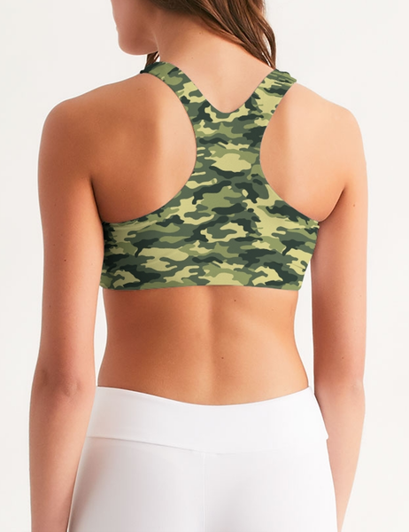 Green Military Camouflage Print | Women's Standard Sports Bra