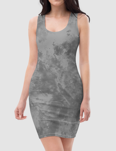Grey Tie Dye | Women's Sleeveless Fitted Sublimated Dress