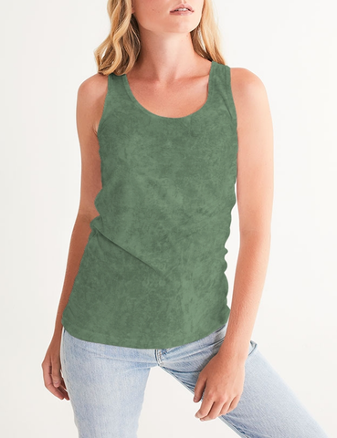 Grunge Army Green Matte | Women's Fitted Sublimated Tank Top