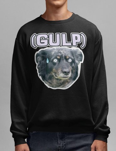 Gulp Funny Surprised Dog Meme Black Crewneck Sweatshirt - OniTakai