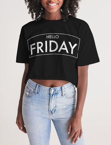 Hello Friday | Women's Oversized Crop Top T-Shirt