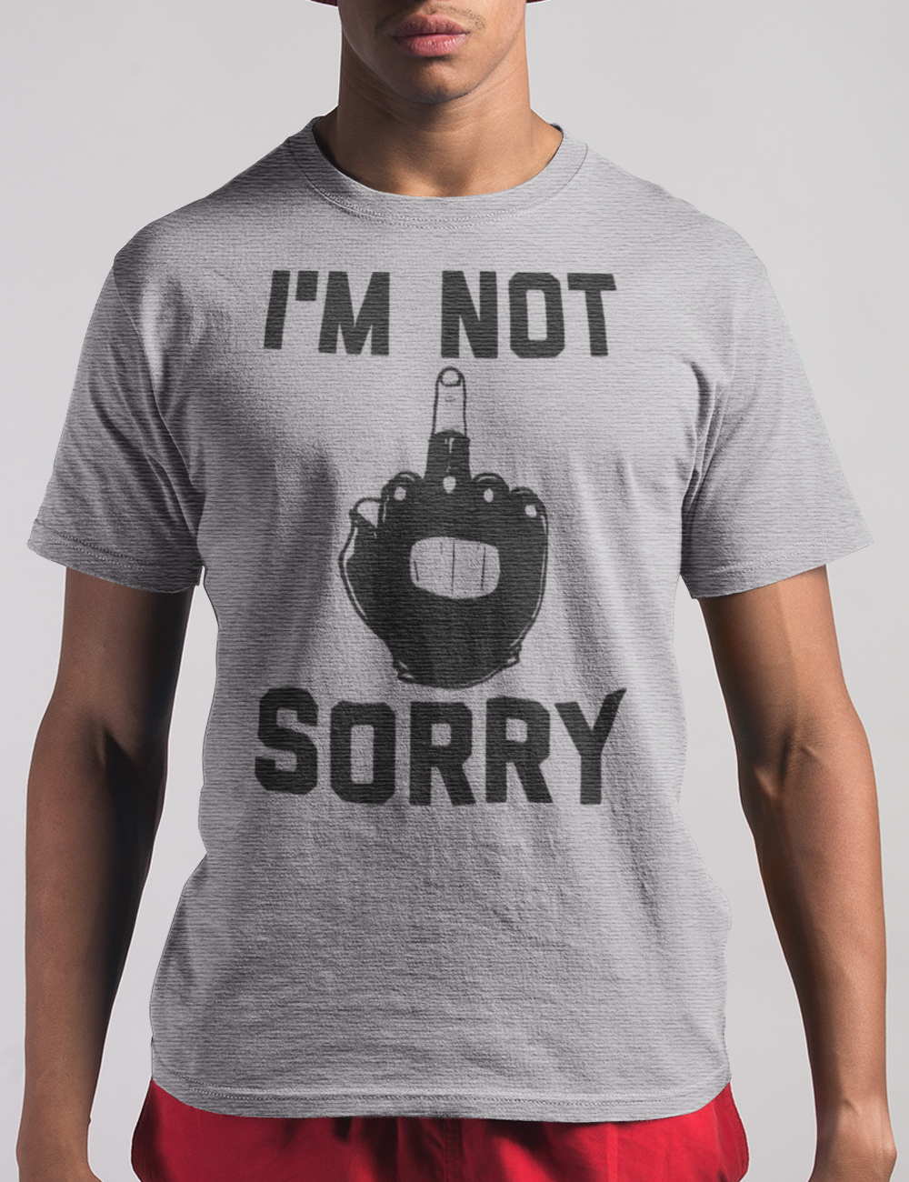 I'm Not Sorry - Men's Heather Grey T-Shirt by OniTakai