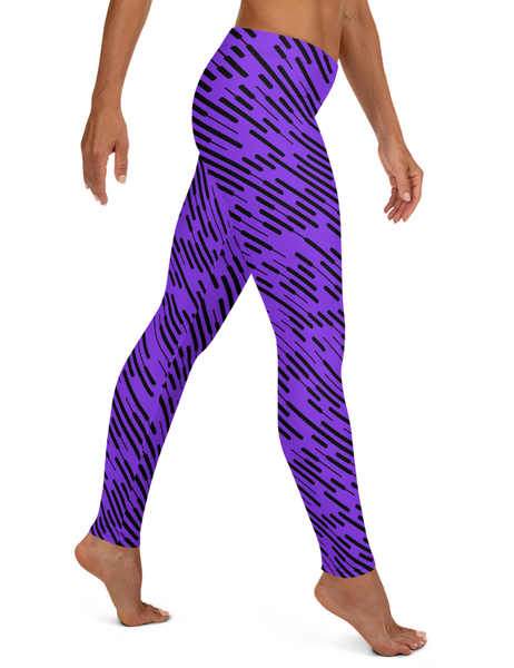 Irregular Purple Grid Lines Low Waist Yoga Leggings