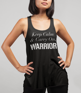 Keep Calm And Carry On Warrior Women's Cut Racerback Tank Top - OniTakai