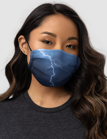 Lightning Night Time Storm Clouds Premium Double Layered Pocket Face Mask - OniTakai