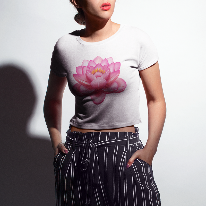 Lotus Flower Crop Top T-Shirt - OniTakai