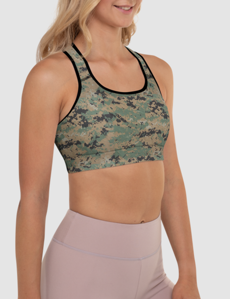 MARPAT Digital Woodland Camouflage Print | Women's Padded Sports Bra