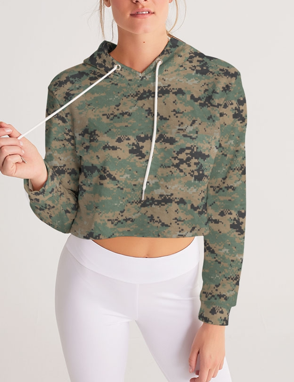 MARPAT Digital Woodland Camouflage Print | Women's Sublimated Cropped Hoodie
