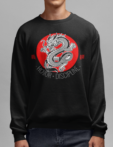 Dragon Of Honor And Discipline Black Crewneck Sweatshirt - OniTakai