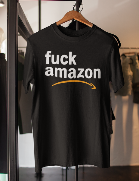 Fuck Amazon Men's Hanging Black T-Shirt - OniTakai