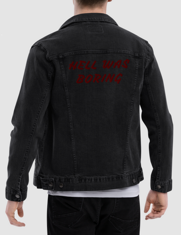 Hell Was Boring Men's Black Denim Jacket - OniTakai